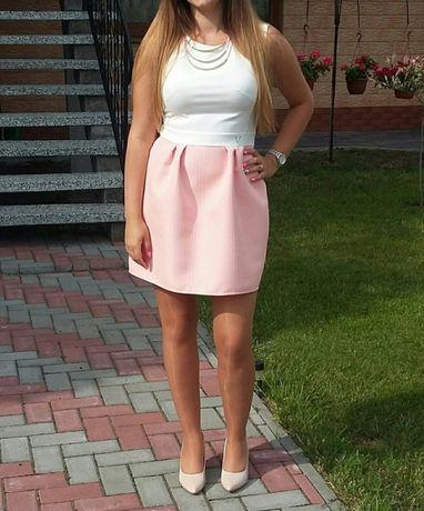 Sukienka biało- różowa