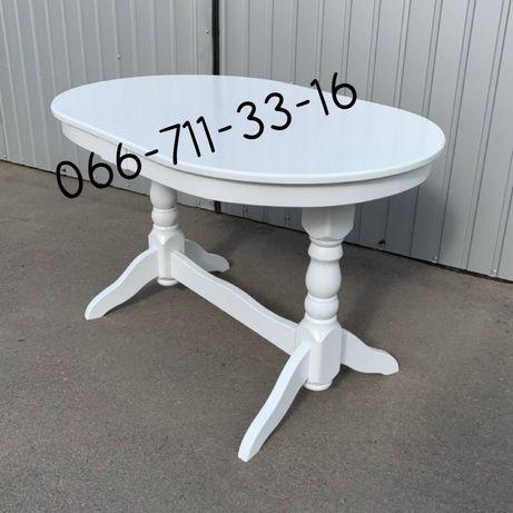 Стол ЕКО. Белый овальный раздвижной. Стіл білий. Стол кухонный.