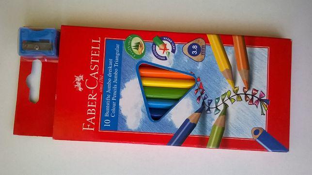 Kredki ołówkowe trójkątne Faber Castell +temperówka 10 kolorów NOWE
