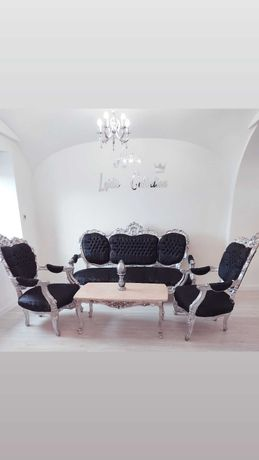 Komplet mebli Ludwik sofa fotele i stół z blatem marmur