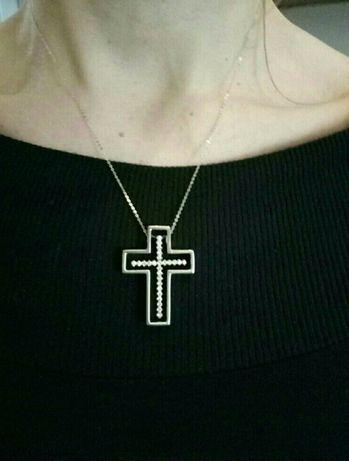 Золотой крест Тиффани с бриллиантами 0.52карата