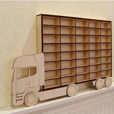 Деревянный гараж, парковка, полка грузовик для машинок из фанеры