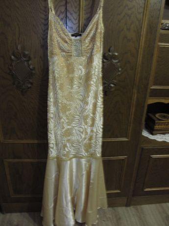 elegancka złota długa suknia roz.36