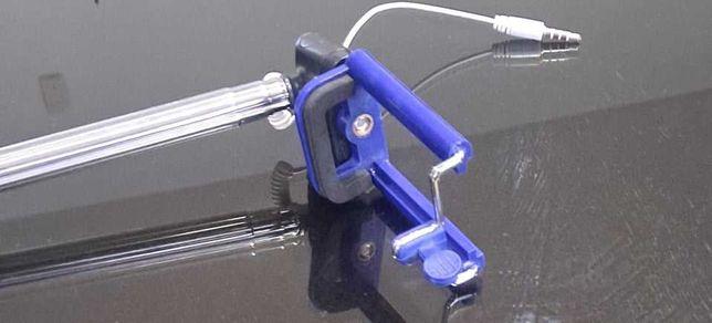 Selfie-Stick Azul Extensível e Com cabo NOVA