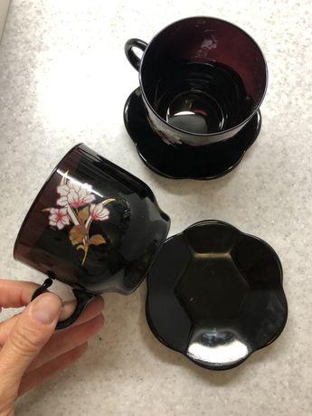 Сервиз чайный /кофейный черное стекло (новый)