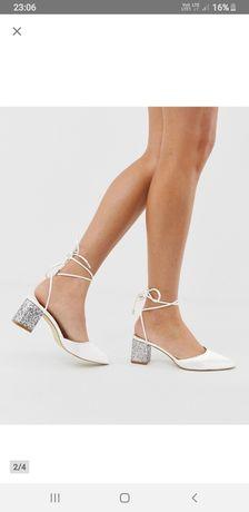 Buty ślubne ivory  ecru 6cm na klocku srebrne cekiny sandałki ecru 39