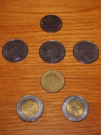 8 монет из Италии 1974-1992 годов