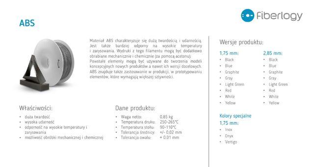 Filament ABS do drukarek 3D - Rzeszów - Fiberlogy, Plast-Spaw