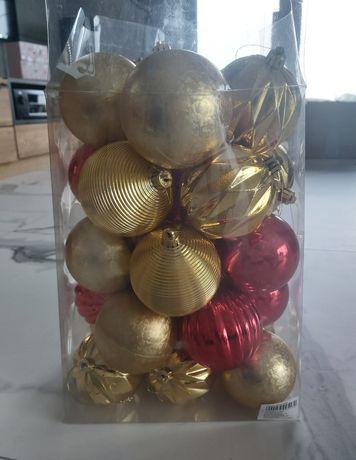 Bombki choinkowe plastikowe złote i czerwone