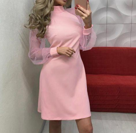 Персиковое летнее платье