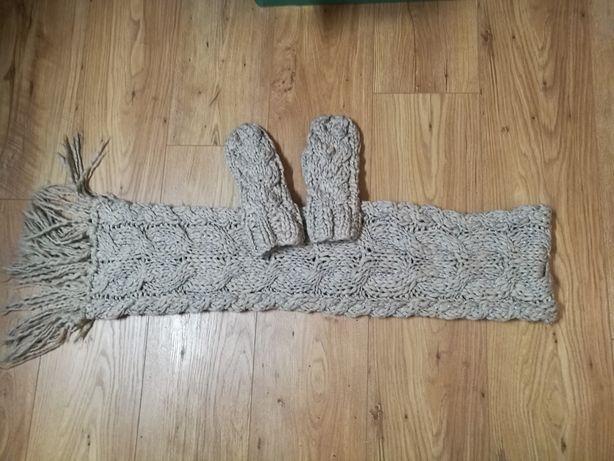 ZARA nowy szal, rękawiczki - Komplet