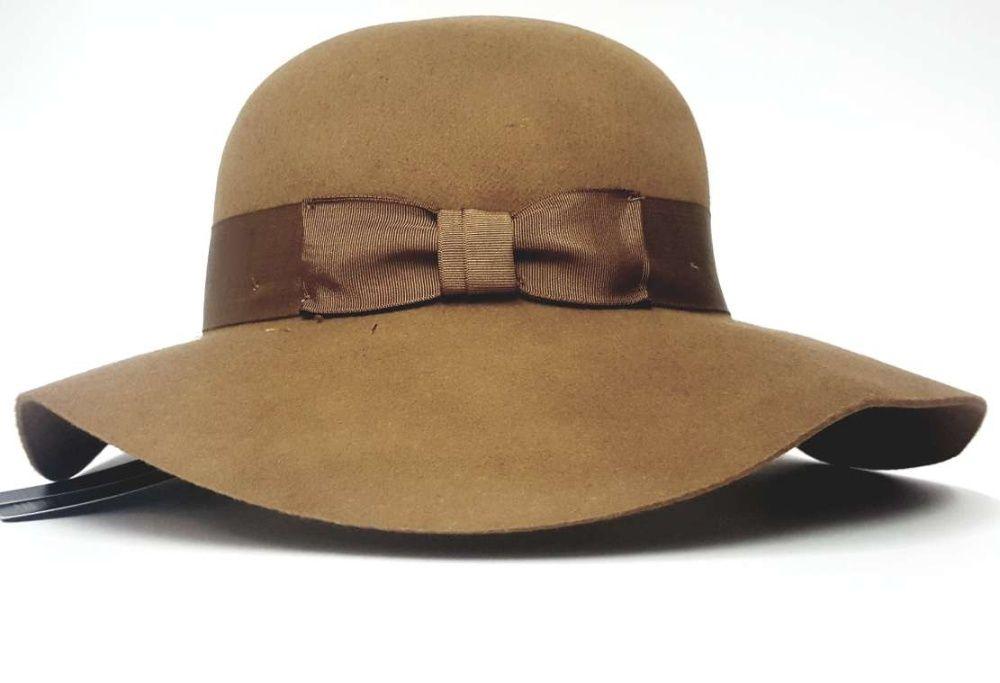 KAPELUSZ DAMSKI filcowy z filcu brązowy duże rondo Sosnowiec - image 1