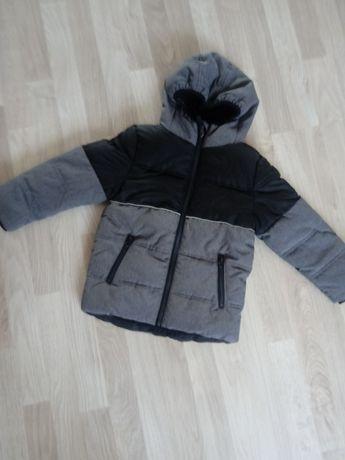 Czarna szara kurtka zimowa z odblaskami F&F 110