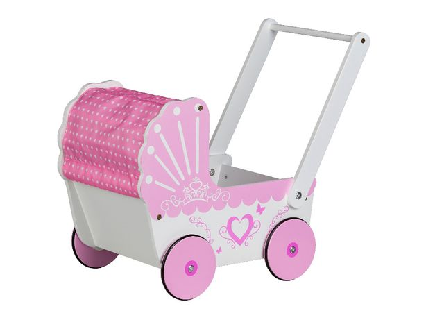 Drewniany wózek z daszkiem dla lalek pchacz chodzik Ecotoys # TT003
