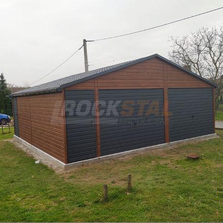 Garaż blaszany - drewnopodobny kolor orzech dwuspad / Rock Stal