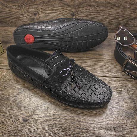 Мужские чёрные мокасины, туфли