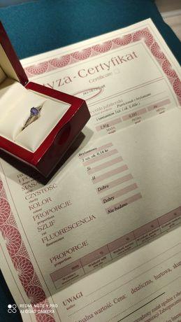Pierścionek zaręczynowy tanzanit 0,46 białe złoto 585 brylanty