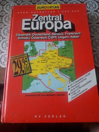 Atlas zentral europa centralna europa mapa samochodowa