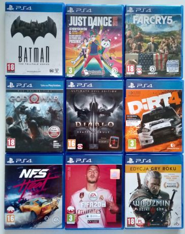Gry PS4 Dirt Diablo Batman Farcry Wiedźmin NFS Heat FIFA God of War