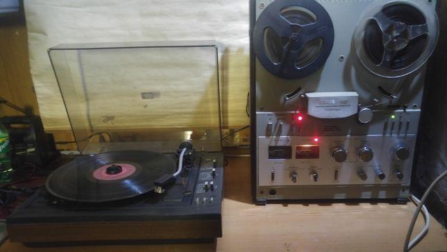 Магнитофон Союз 110 и проигрыватель Радиотехника 301м с дефектом