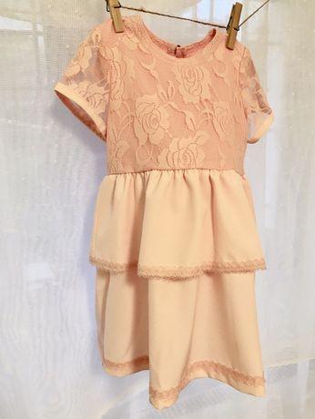 Sukienka nowa krótki rękaw pudrowy róż 80 i 86