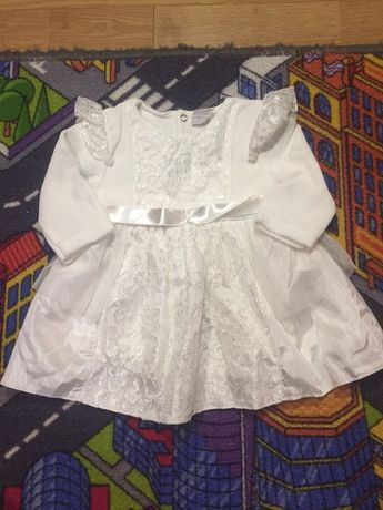 Нарядное белое платье, рост 62 см