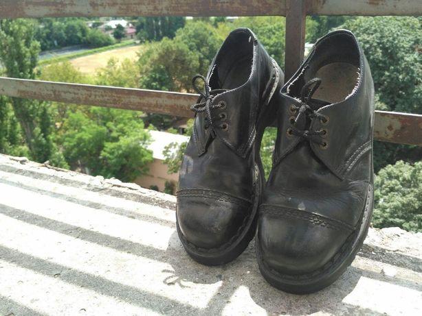 Туфли берцы кожанные KMM shoes 030 black (Dr. Martens, Grinders)