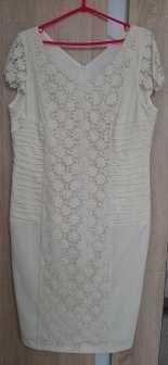 letnia sukienka ecru używana z koronką 42 44