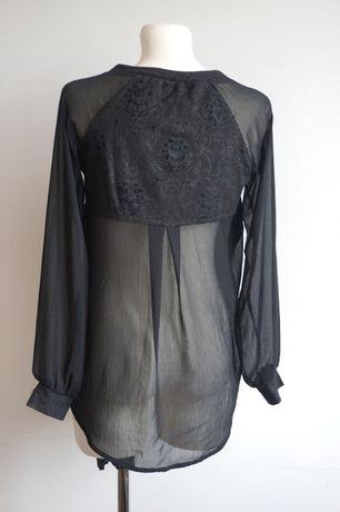 Czarna bluzka szyfon wiskoza S