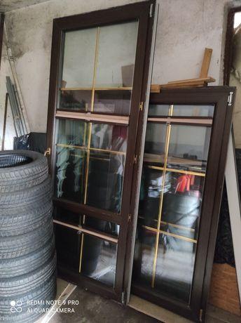 okno brązowe plastikowe plus moskitiera