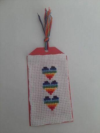 Zakładka do książki tęcza serca lgbt + pride handmade ręcznie robiona