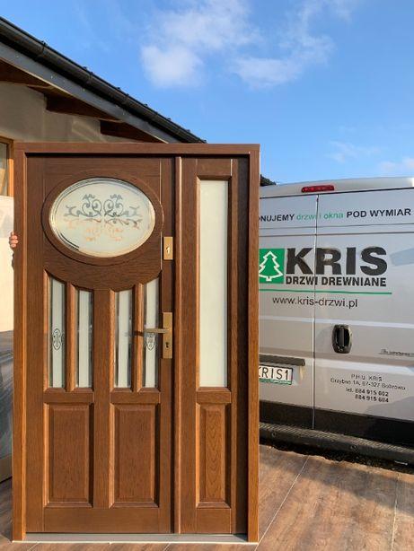 Drzwi zewnętrzne drewniane dwuskrzydłowe dębowe czyste powietrze 75mm