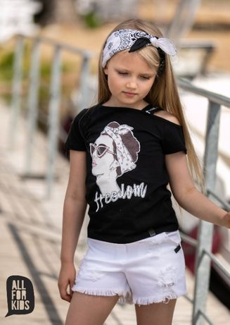 All for Kids bluzka czarna z dziewczynką