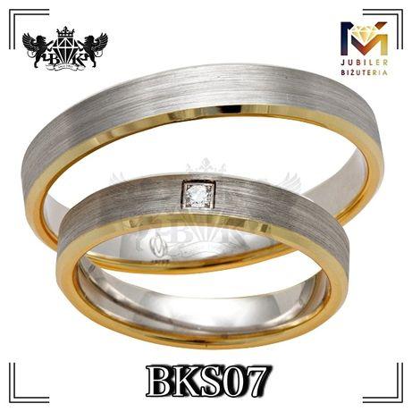 Piękne Obrączki dwa kolry żółto-białe złoto 585 14K bezniklowe pallad