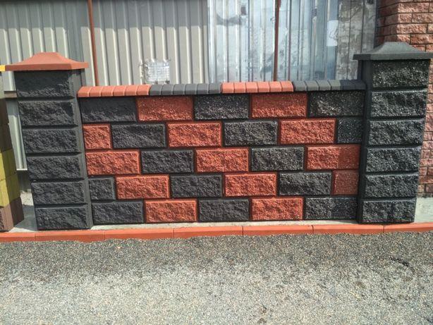 Заборный, декоративный блок, бетонный, колотый с двух сторон