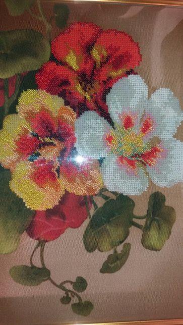 Картина, вышивка бисером, цветы