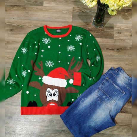 Прикольнючий новогодний свитер XL