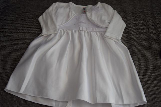 komplet na chrzest: sukienka,bolerko, buciki, body 62 / 68