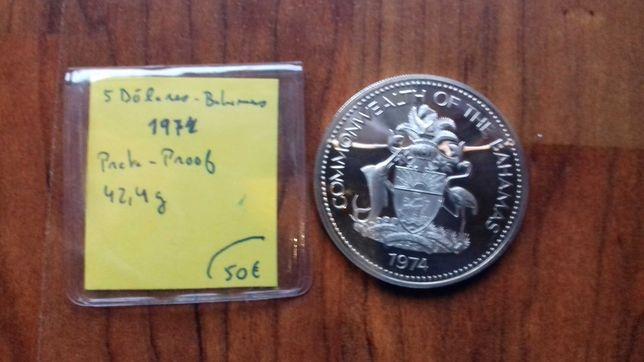 Moeda 5 Dólares Bahamas 1978 Prata Proof