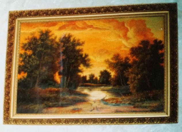 Duży obraz olejny pejzaż Szwajkosz dzieło w pięknej ramie