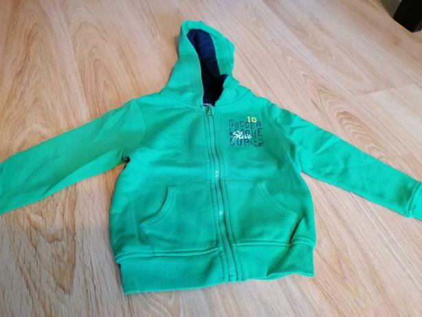 Zielona rozpinana bluza z kapturem 98/104