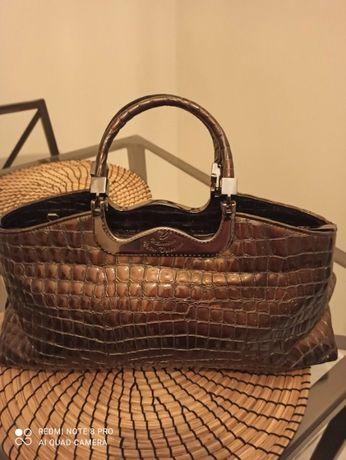 Elegancka torebka damska ze skóry tłoczonej retro 100% skóra naturalna