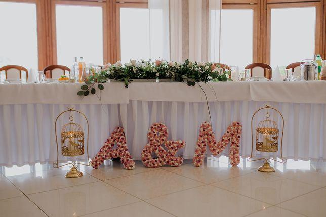 Inicjały litery A&M różyczki piankowe wesele ślub