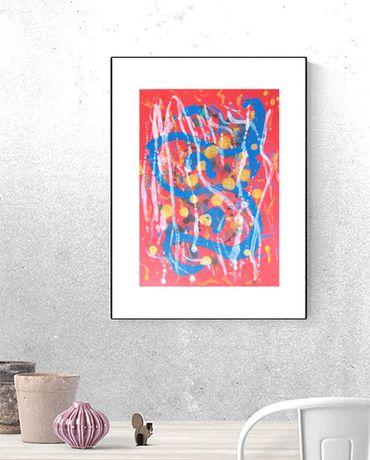 czerwona grafika na scianę, ładna abstrakcja do salonu, obraz do loftu