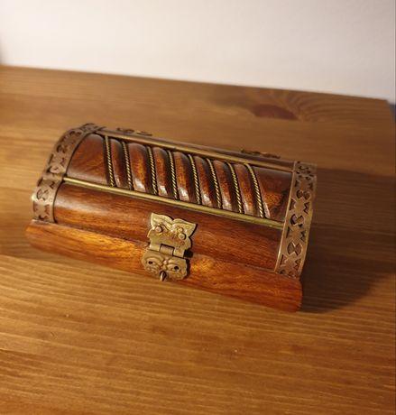 Sino banco ferro Caixa antiga madeira e cobre forro de veludo