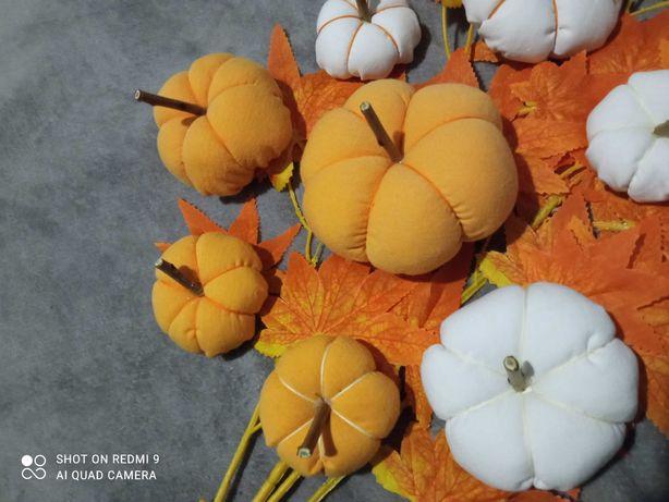 Dynie z materiału do kompozycji jesiennych wianków stroików ręcznie ro