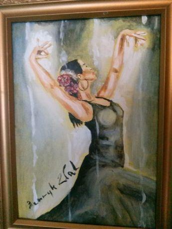 Obraz olej tancerka flamenco sygnowany