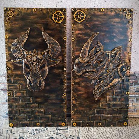 Панно Носорог,Бык ручной работы в стиле Стимпанк Лофт