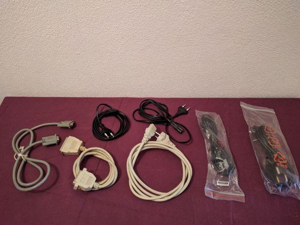 Cabos: Computador, impressoras, alimentação, projectores, USB, etc