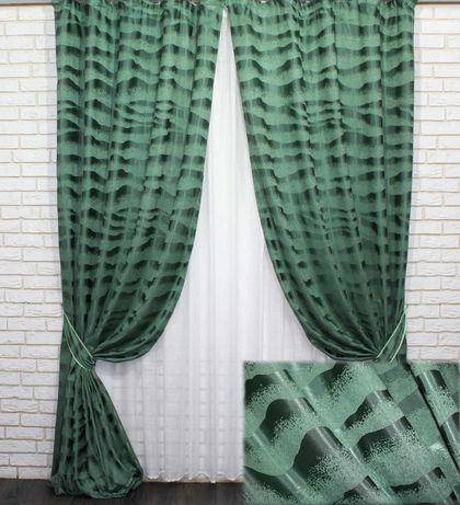 Комплект штор (2шт. 1.5х3,1м.) льон, зелений. Код 772ш 30-545